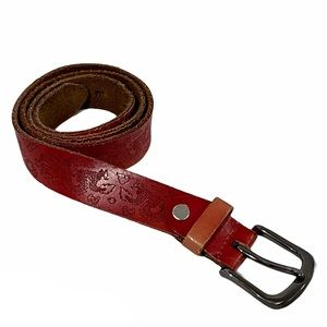 Dragon asian inspired red leather belt S